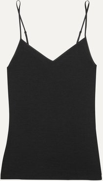 Merino Wool And Silk-blend Camisole - Black