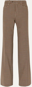 Checked Wool-blend Wide-leg Pants - Brown