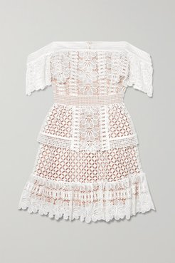 Off-the-shoulder Guipure Lace Mini Dress - Ivory