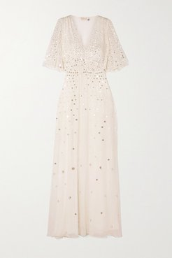 Topiary Sequined Chiffon Gown - Ivory