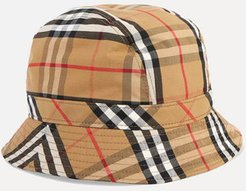 Checked Cotton-canvas Bucket Hat - Camel