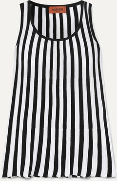 Striped Ribbed Cotton Tank - White