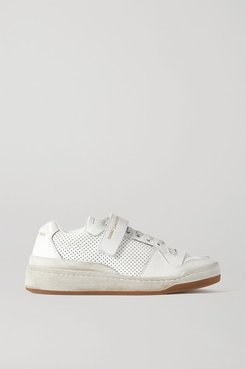 Travis Logo-print Distressed Perforated Leather Sneakers - White
