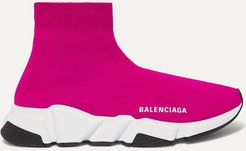 Speed Stretch-knit High-top Sneakers - Pink