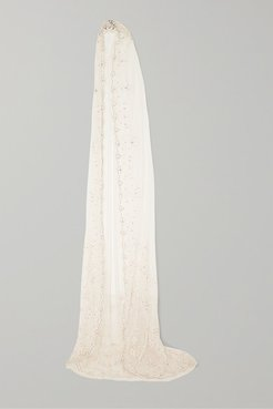 Pearl Rose Embellished Embroidered Tulle Veil - Ivory
