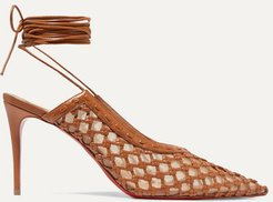 Roland Mouret Cage And Curry Mesh And Woven Leather Pumps - Tan