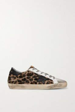 Superstar Distressed Leopard-print Calf Hair, Leather And Suede Sneakers - Leopard print