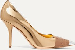 Tape-trimmed Metallic Leather Pumps - Gold