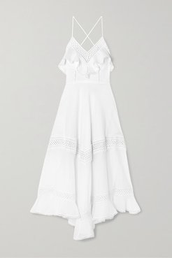 Sabine Crocheted Lace-paneled Cotton-blend Midi Dress - White