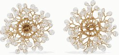 Dewdrop Gold-plated Crystal Earrings - White