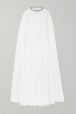 Brie Crystal-embellished Swiss-dot Tulle Cape - White