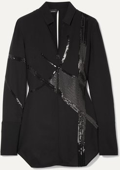 Sequin-embellished Mulberry Silk-blend Georgette Blouse - Black