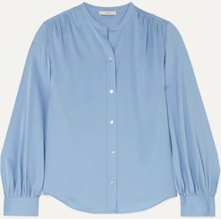 Stretch-silk Blouse - Blue