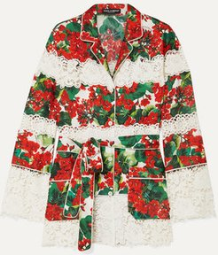 Belted Floral-print Cotton-blend Twill And Guipure Lace Shirt - Red