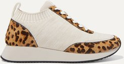 Remi Leopard-print Calf Hair And Stretch-knit Sneakers - Leopard print