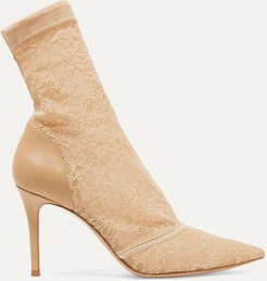 Brinn 85 Stretch-lace And Leather Sock Boots - Beige