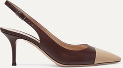 Lucy 70 Two-tone Leather Slingback Pumps - Merlot
