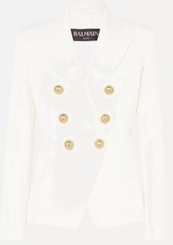 Double-breasted Wool-twill Blazer - White