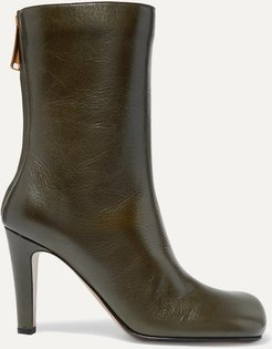 Leather Ankle Boots - Army green