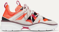 Kindsay Suede, Leather And Mesh Sneakers - Orange