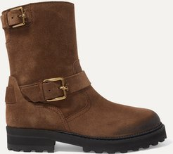 Distressed Suede Ankle Boots - Brown