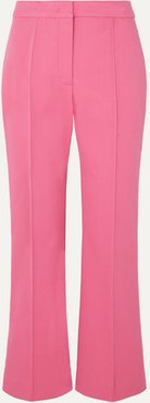 Cropped Pintucked Stretch-cotton Twill Flared Pants - Pink