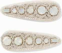 Set Of Two Canvas, Silver-tone And Crystal Hair Clips - White
