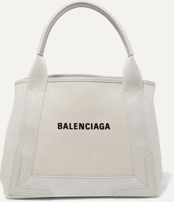 Cabas Small Leather-trimmed Canvas Tote - Beige