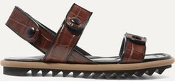 Croc-effect Leather Sandals - Brown