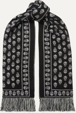 Fringed Wool And Silk-blend Jacquard Scarf - Black