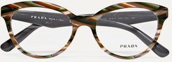 Round-frame Marbled Acetate Optical Glasses - Brown