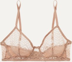 Caraco Lace And Stretch-jersey Underwired Soft-cup Bra - Blush