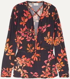 Gathered Floral-print Crepe De Chine Blouse - Black