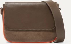 Dauphine Madame Leather And Suede Shoulder Bag - Green