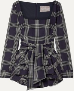 Belted Checked Woven Peplum Blouse - Navy