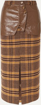 Maggie Checked Wool And Faux Leather Midi Skirt - Brown