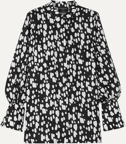 Net Sustain Miles Faux Pearl-embellished Printed Lyocell Shirt - Black