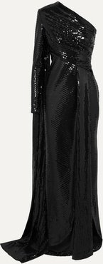 One-sleeve Draped Sequined Tulle Gown - Black