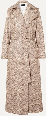 Snake-effect Faux Leather Trench Coat - Snake print