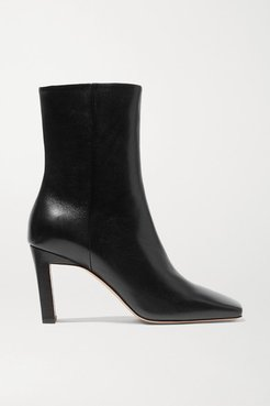 Isa Leather Ankle Boots - Black