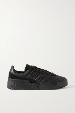Bball Soccer Suede-trimmed Leather Sneakers - Black