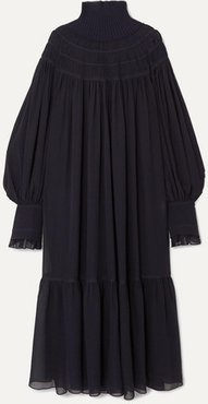 Oversized Ribbed Wool And Pleated Silk-chiffon Maxi Dress - Navy