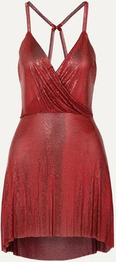 Clemence Draped Chainmail Mini Dress - Red