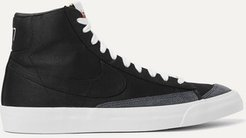 Blazer Mid '77 Suede-trimmed Canvas High-top Sneakers - Black