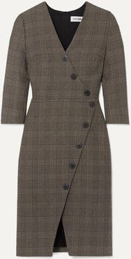 Sofie Prince Of Wales Checked Cotton-blend Dress - Brown