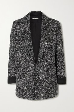 Alice Olivia - Jace Sequined Silk-satin Blazer - Silver