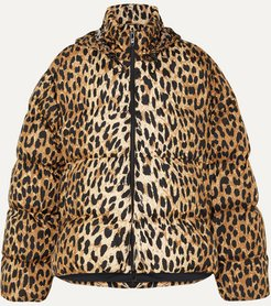 C-shape Hooded Leopard-print Quilted Shell Jacket - Leopard print