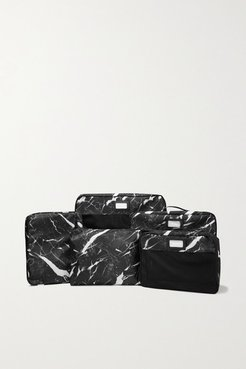 Set Of 5 Marbled Canvas And Mesh Packing Cubes - Black