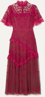 Elsa Ballerina Ruffled Lace-trimmed Embroidered Tulle Midi Dress