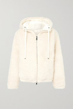 Reversible Hooded Faux Shearling Quilted Down Jacket - White